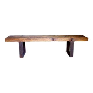 Artisan Hand-Made Vintage Wood Platform Mid-Century Bench Coffee Table 62""