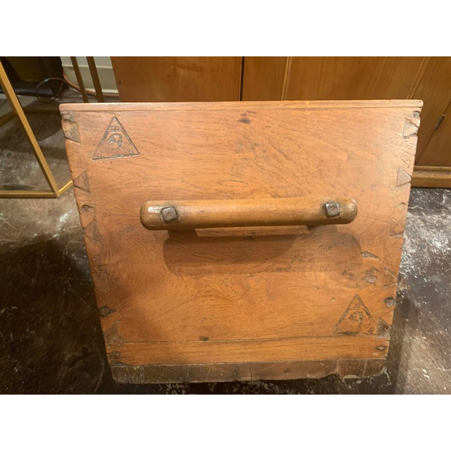 Late 19th Century Antique Wooden Box With Handles For Sale - Image 5 of 13