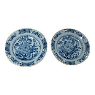 18th Century Delft Plates Marked - a Pair For Sale