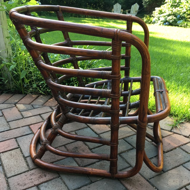 1970s 1970s Boho Chic Brown Jordan Rattan Arm Chair For Sale - Image 5 of 10