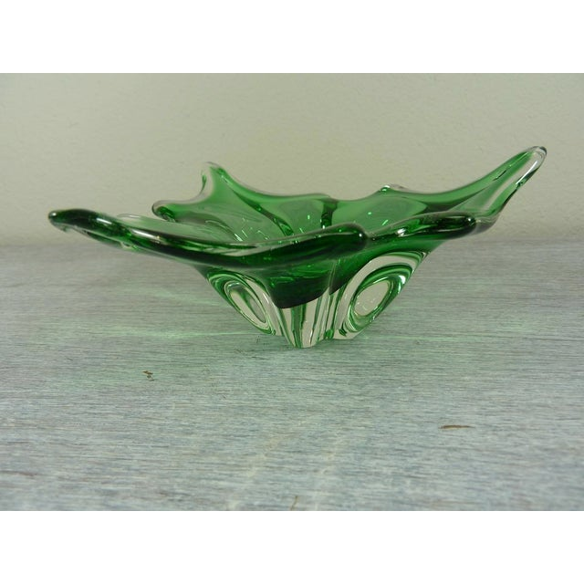 Italian Transparent & Green Holly Leaf Murano Christmas Bowl For Sale - Image 3 of 4