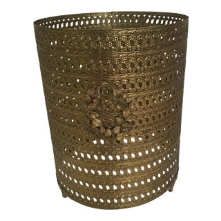 Regency Metal Rose Filigree Trash Basket Can For Sale