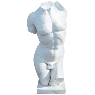 Large Sculpted Male Torso Marble Statue For Sale