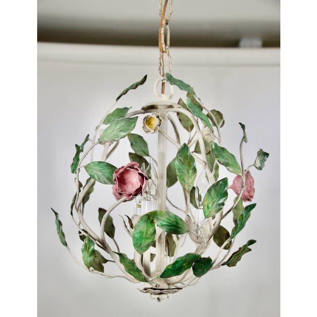 1960s 1960 Italian Tole Cage Chandelier For Sale - Image 5 of 5