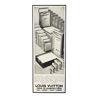 RARE-Matted French Art Deco Louis Vuitton Print-Travel Needs For Sale