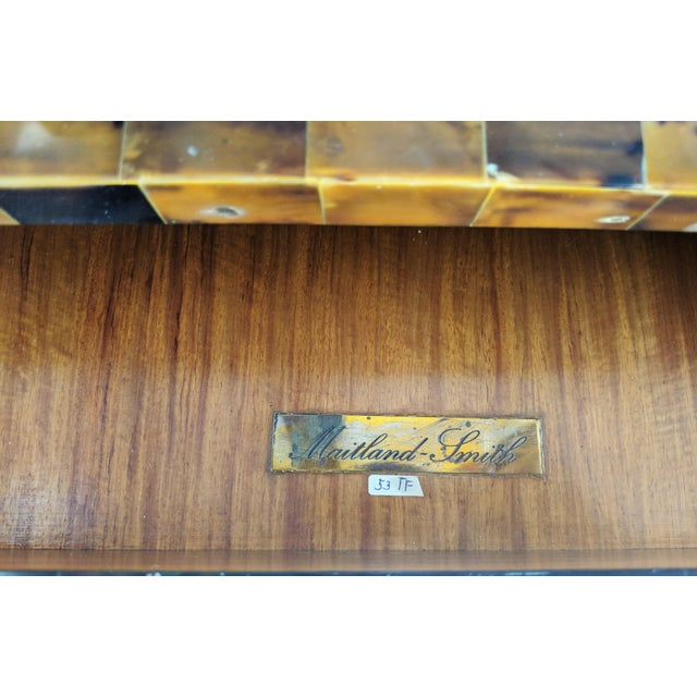 Maitland Smith Tesselated Horn and Brass Writing Partner Desk - Image 8 of 11