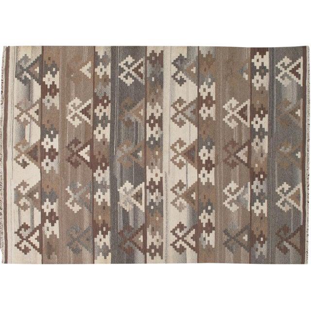 Apadana - Hand-Knotted Brown Kilim Rug - 5' x 8' - Image 1 of 4