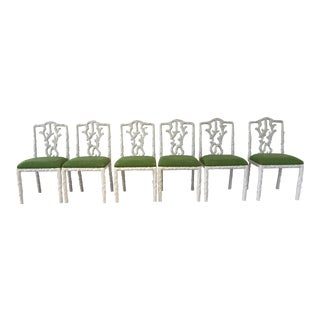 Vintage Green & White Lacquered Dining Chairs - Set of 6