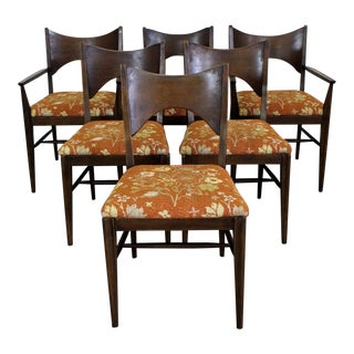 Set of 6 Mid-Century Danish Modern Paul McCobb Style Walnut Broyhill Dining Chairs For Sale