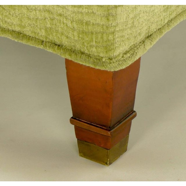 Pair of Pistachio Green Chenille Button-Tufted Low Barrel Back Wing Chairs - Image 9 of 9
