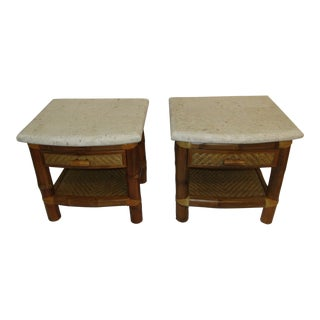 Boho Chic Rattan End Tables - a Pair For Sale