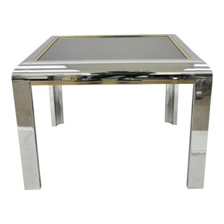 Vintage Milo Baughman Polished Chrome Glass Top Occasional Lamp Table For Sale