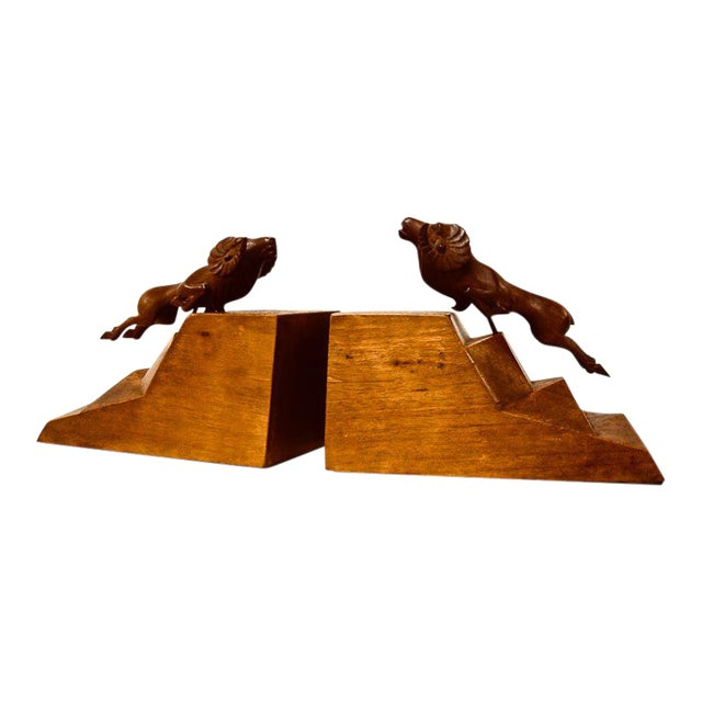 1930s Art Deco Ram Bookends - a Pair For Sale