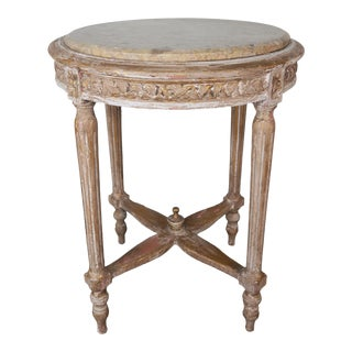 French Louis XVI Style Side Table W/ Marble Top For Sale
