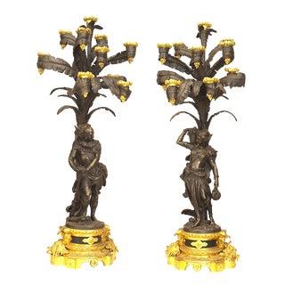 Pair of Ornate French Napoleon III Gilt Ten-Light Candelabra For Sale