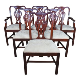 Vintage Baker Chippendale Style Pretzel Back Mahogany Dining Chairs - Set of 6 For Sale