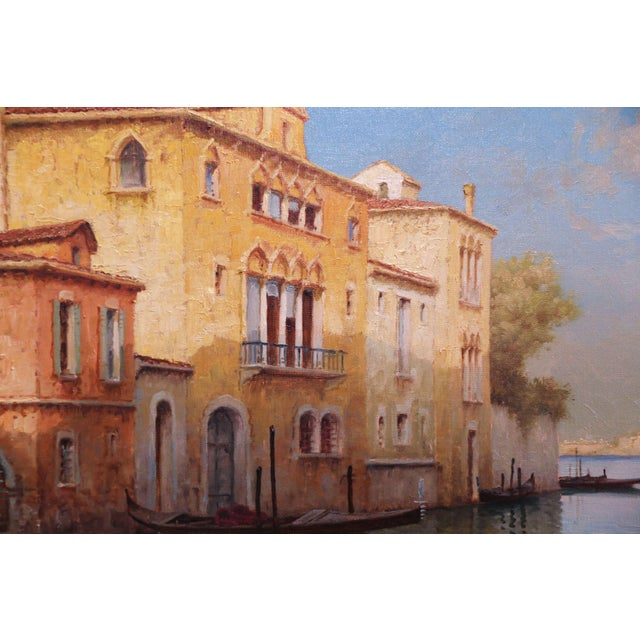 Canvas Early 20th Century French Venice Framed Oil Painting Signed Alphonse Lecoz For Sale - Image 7 of 11