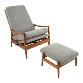 Milo Baughman Style Mid Century Custom Recliner and Ottoman For Sale