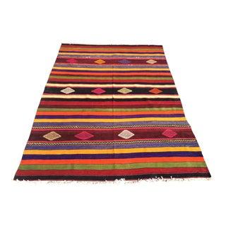 Vintage Colorful Turkish Kilim Rug For Sale