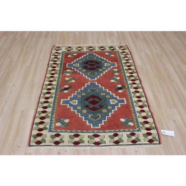 Ori̇ental Turki̇sh Wool Rug - 3′6″ × 4′10″ For Sale In San Diego - Image 6 of 7