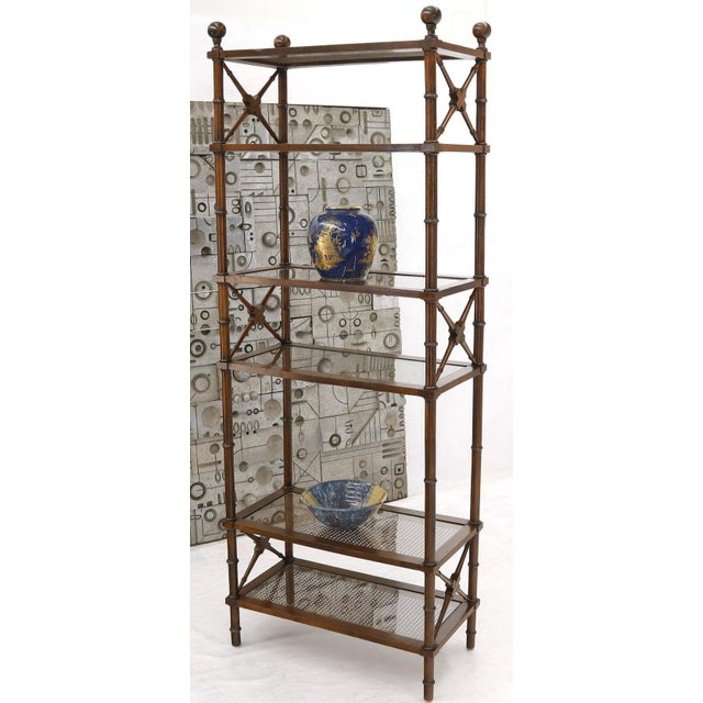 X Stretchers Faux Bamboo Cane and Glass Shelves Étagère Shelves For Sale - Image 6 of 13