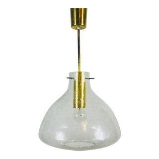 1960s Mid-Century Modern Brass and Glass Pendant Lamp Attr. To Doria, Germany For Sale