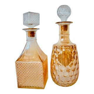 1960s Hollywood Regency Amber Blown Glass Liquor Decanters - a Pair For Sale