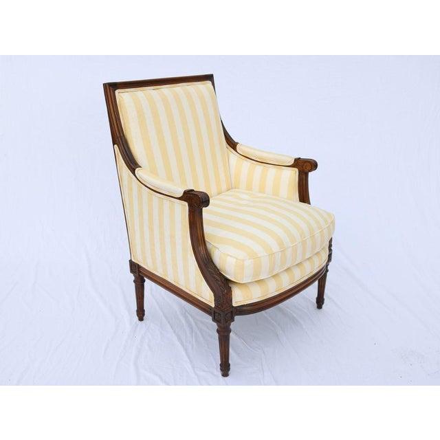 Louis XVI Style Striped Upholstery Walnut Bergère - Image 3 of 11