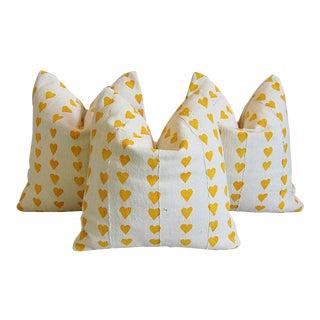 Custom Golden Heart African Cloth Feather/Down Pillows - Set of 3