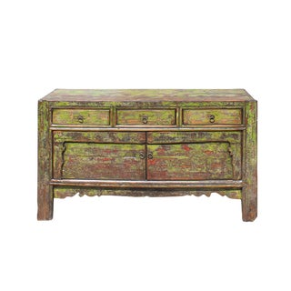 Chinese Distressed Lime Green 3 Drawers Sideboard Table Cabinet For Sale