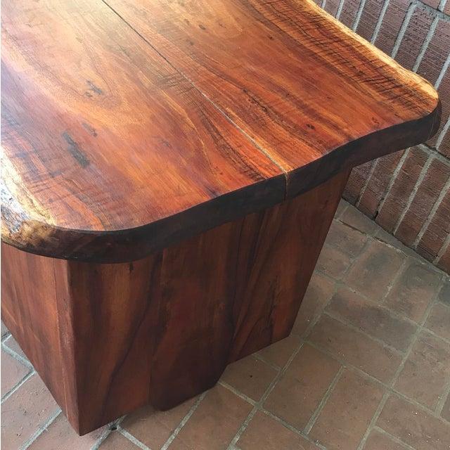 Wood 1970s Primitive Wood Slab Executive Desk For Sale - Image 7 of 10