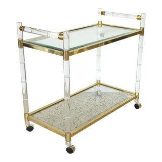 Mid-Century Modern Charles Hollis Jones Bar Cart in Polished Brass, Lucite and Beveled Glass For Sale