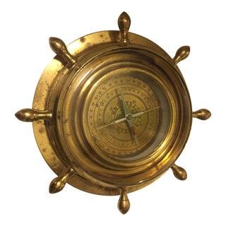 Brass Lacquer Ship's Wheel Nautical Compass