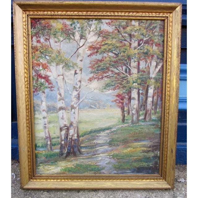 Cottage Vintage 1930-1940s Wallace Howard Signed Birch Forest Landscape Oil Painting on Canvas For Sale - Image 3 of 11