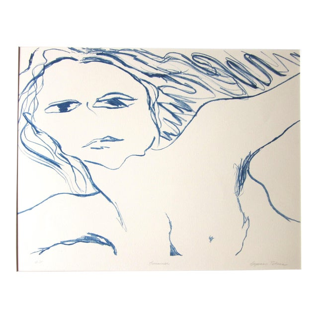 """1970s Vintage Suzanne Peters """"Swimmer"""" Nude Stone Lithograph For Sale"""