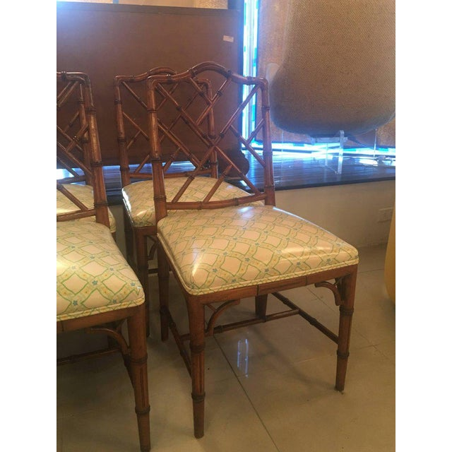 Fine Century Faux Bamboo Chinese Chippendale Side Dining Chairs ...