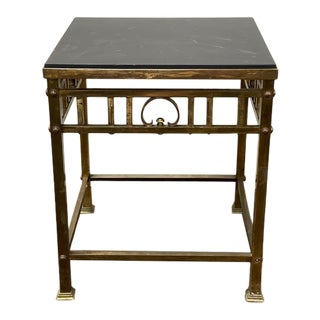 C.1940 Brass Side Table With Slate Top For Sale