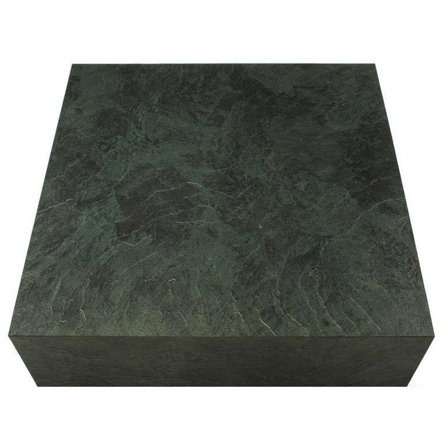 1980s Floating Square Coffee Table in Green and Black Slatelike Material For Sale - Image 5 of 6