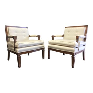 Mid 20th Century Button Tufted Lounge Chairs - A Pair