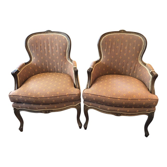 Early 20th Century Vintage Louis XV Style Walnut Bergere Chairs - A Pair For Sale