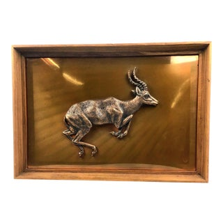 1950s Vintage Zambian Copper Hand Carved Impala Framed Wall Sculpture For Sale