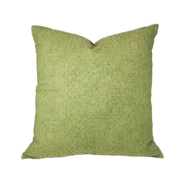 Hand Applique Green Pillow - Image 1 of 8