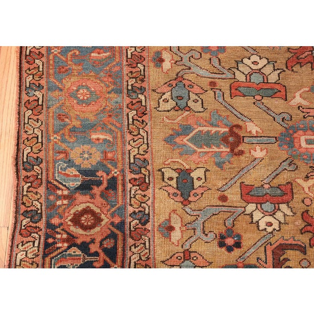 Antique Heriz Persian Golden Background Rug - 9′2″ × 10′5″ For Sale - Image 9 of 11