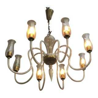 Murano 8 Light Refined Chandelier For Sale