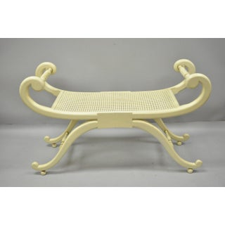 1960s Regency Neoclassical Style Cane X-Frame Bench Preview