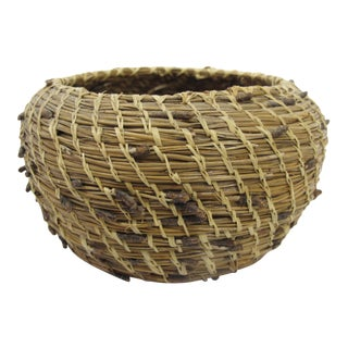 20th Century Native American Pine Needle Basket For Sale