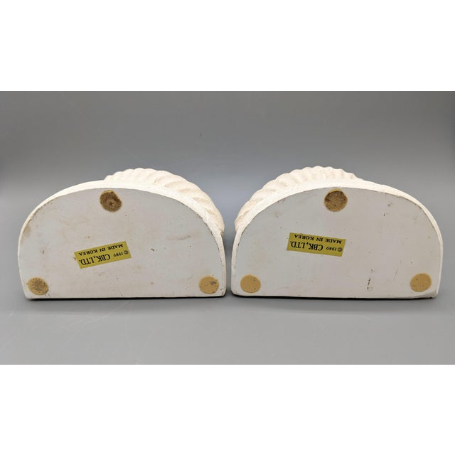 Ceramic Late 20th Century Off-White Scallop/ Clam Shell Bookends - a Pair For Sale - Image 7 of 9