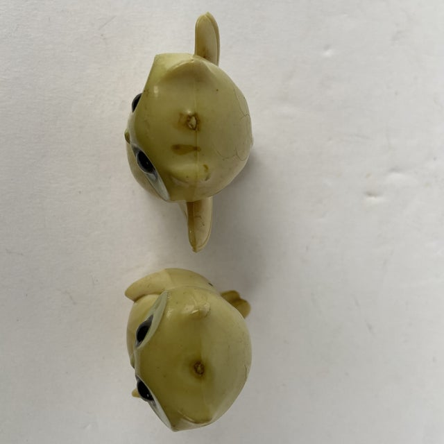 Plastic Antique Early 20th Century Celluloid Tiny Owl Figurines - a Pair For Sale - Image 7 of 9