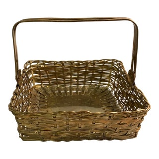 Vintage Woven Brass Basket With Handles For Sale
