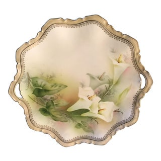 Vintage R S Prussia Vintage Hand Painted China Serving Plate With Lily Motif For Sale